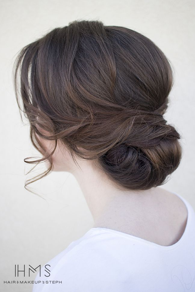 Soft low bun wedding updo
