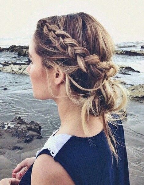 dutch accent braid into a messy low bun for a cute casual hairstyle on brunette ...