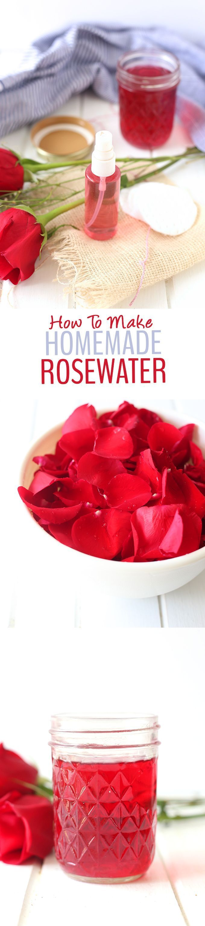 A step-by-step tutorial on how to make homemade rosewater + a recipe for DIY Ros...