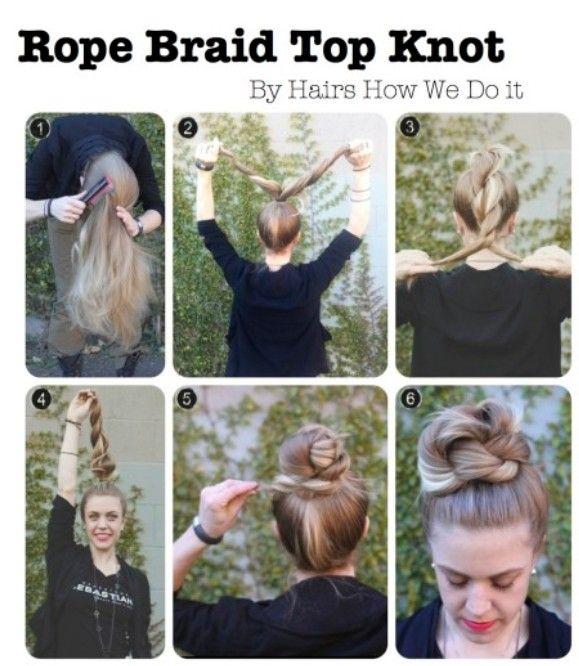 High Bun Updos Tutorials: Rope Braid Top Knot