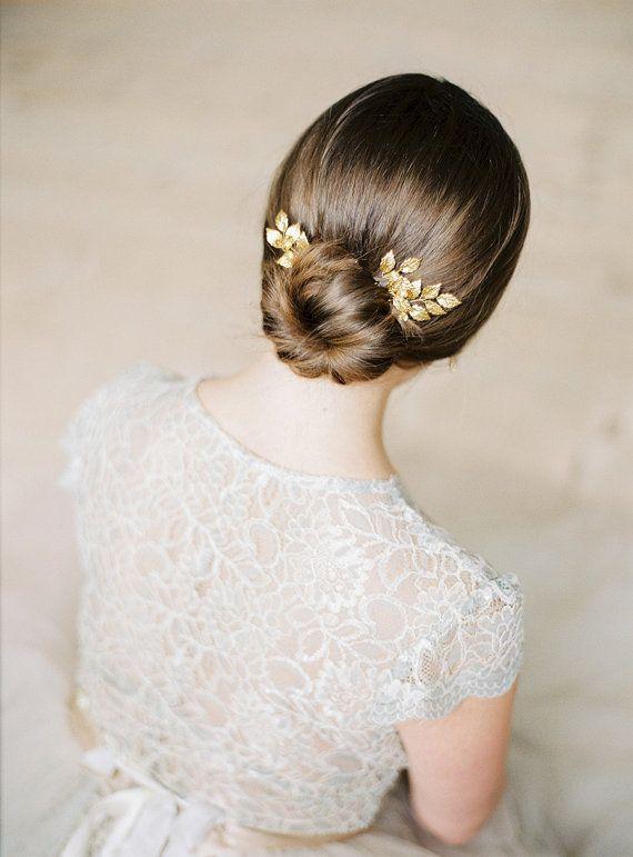 Gold bridal pins- Gold leaf headpiece-Bridal- Gold leaf pins-Swarovski…