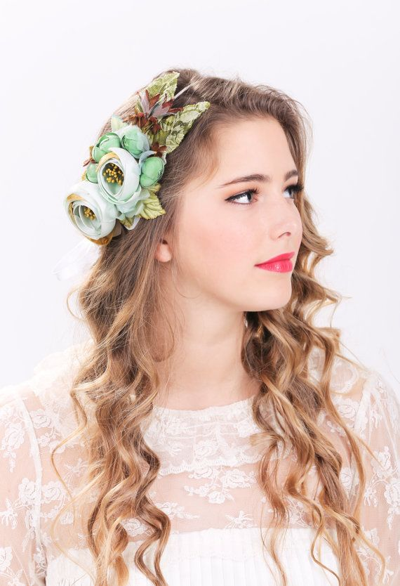bridal flower hair crown, woodland wedding, sea foam flower, milinery flower