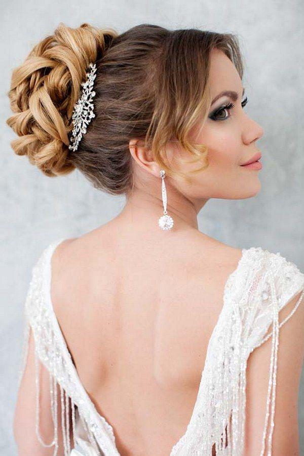 long wavy wedding updo hairstyle with wedding makeup 2 via aleksandra prudnikov