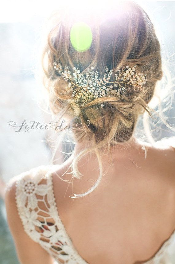 Gold, Antique Gold, Silver Boho Headpiece, Opal Flower Hair Crown, Hair Vine Wre...