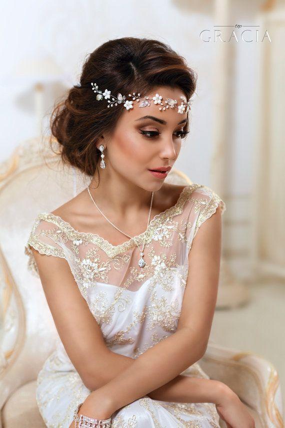 Bridal Flower crown Bridal hair vine White flower by TopGracia
