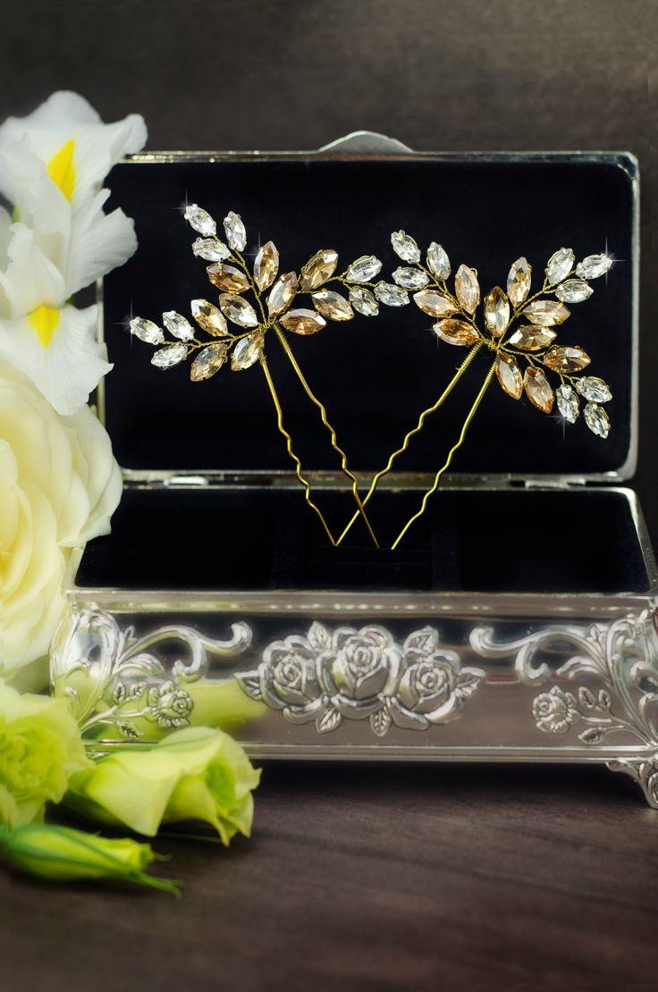 Champagne bridal hair pins, champagne crystal hair pins, yellow rhinestone hair...