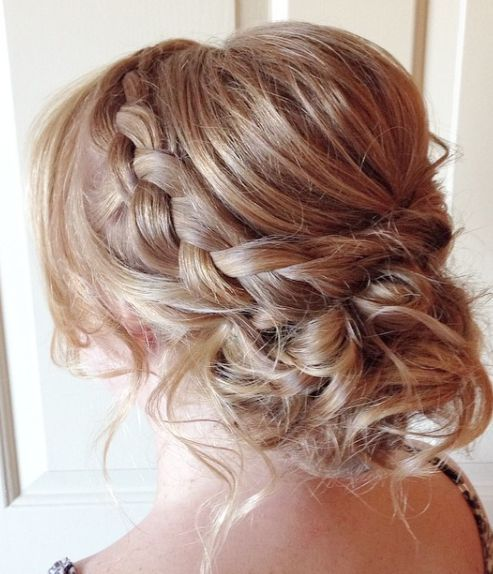 Gorgeous messy braided updo wedding hairstyle; Featured Hairstyle: Heidi Marie G...