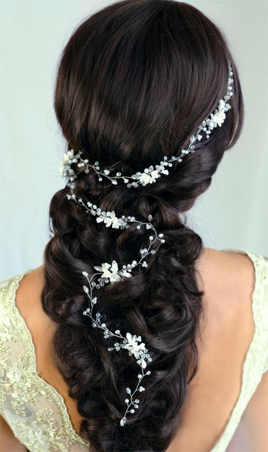 Pearls, handmade flowers, and glass crystals make an elegant vine for bridal or ...