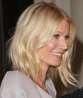 long angular bob with messy waves a la Gwyneth Paltrow