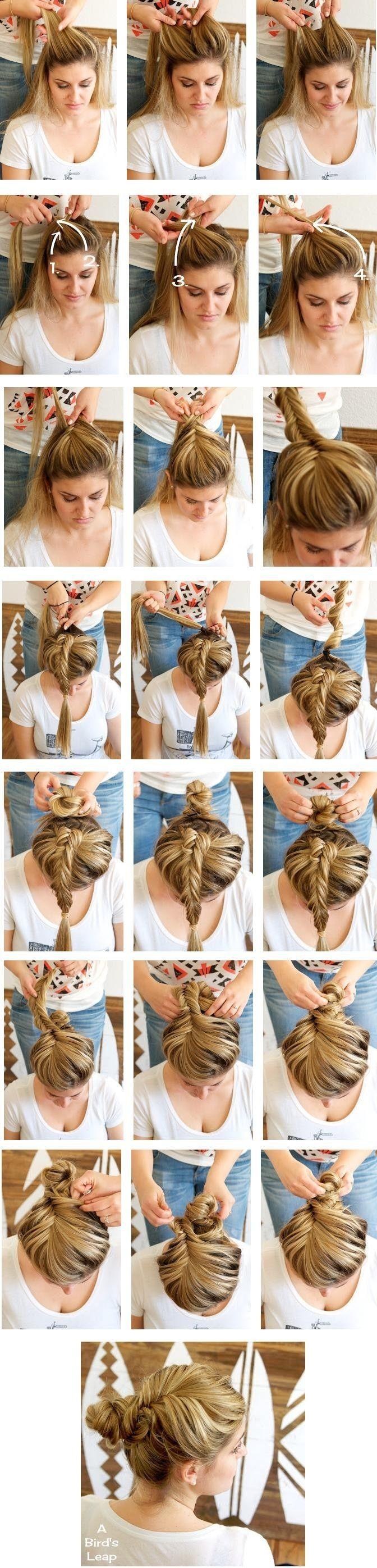Fishtail Braided Bun Hairstyle Tutorial: Girl Hairstyles for Long Hair