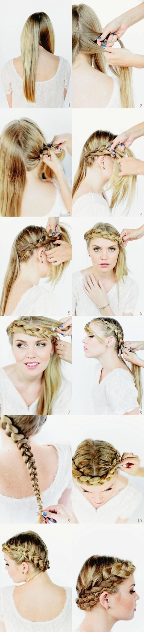Gorgeous Crown Braided Hairstyles Tutorials: Long Hairstyle