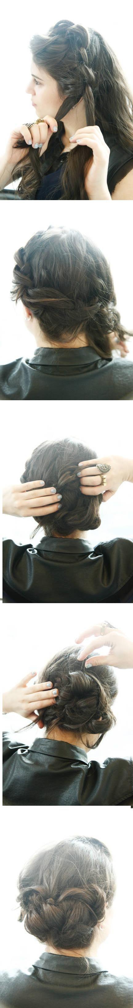 Updo Hairstyles Tutorials: Big Braid Bun Updos