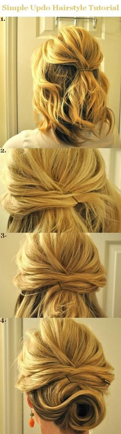 Updo Hairstyles Tutorials for Medium Hair: Simple Half Updos