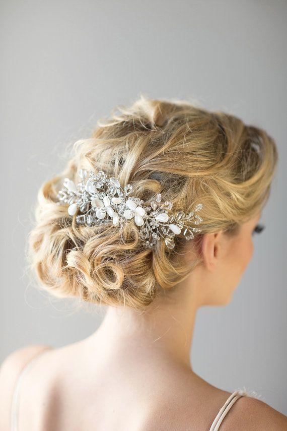Bridal Hair Comb, Beach Wedding Hair Accessory, Crystal Hair Comb, Wedding Head ...