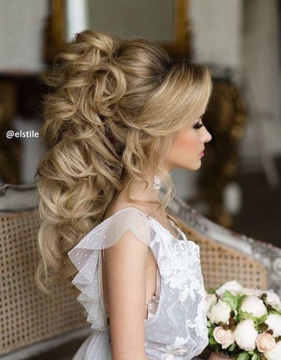 curly updo wedding hairstyle for long hair via elstyle / www.himisspuff.co...