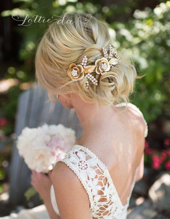 Wedding Updo Hairstyle with Grecian Gold Hair Wreath / www.deerpearlflow...