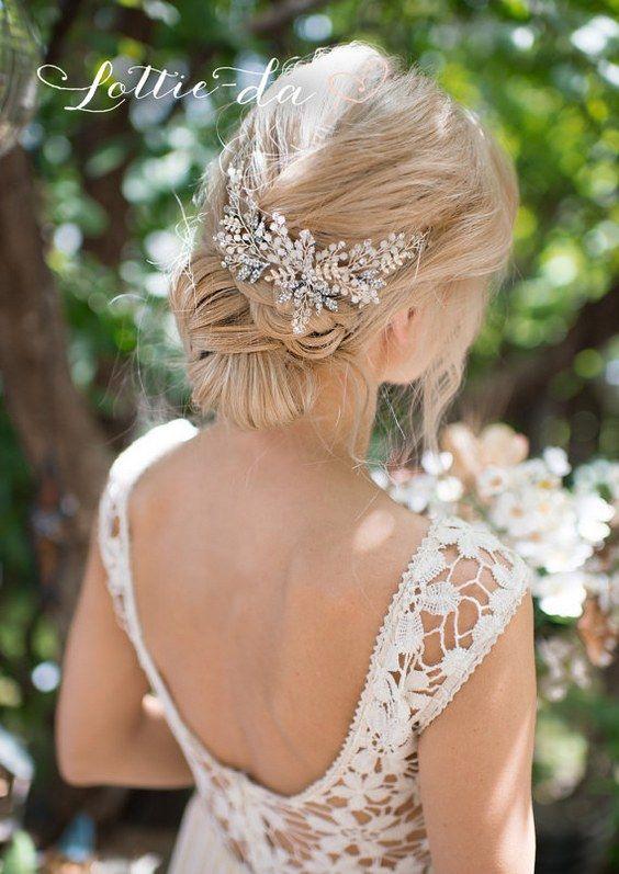 Wedding Updo Hairstyle with Opal Flower Hair Crown / www.deerpearlflow...