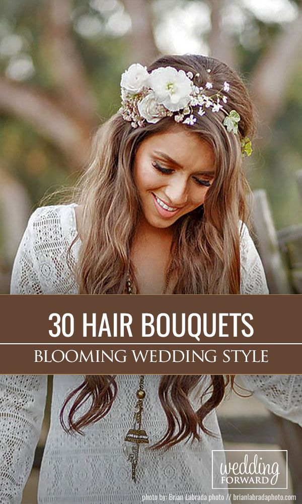 30 Gorgeous Blooming Wedding Hair Bouquets ❤ Floral crowns and blooming weddin...