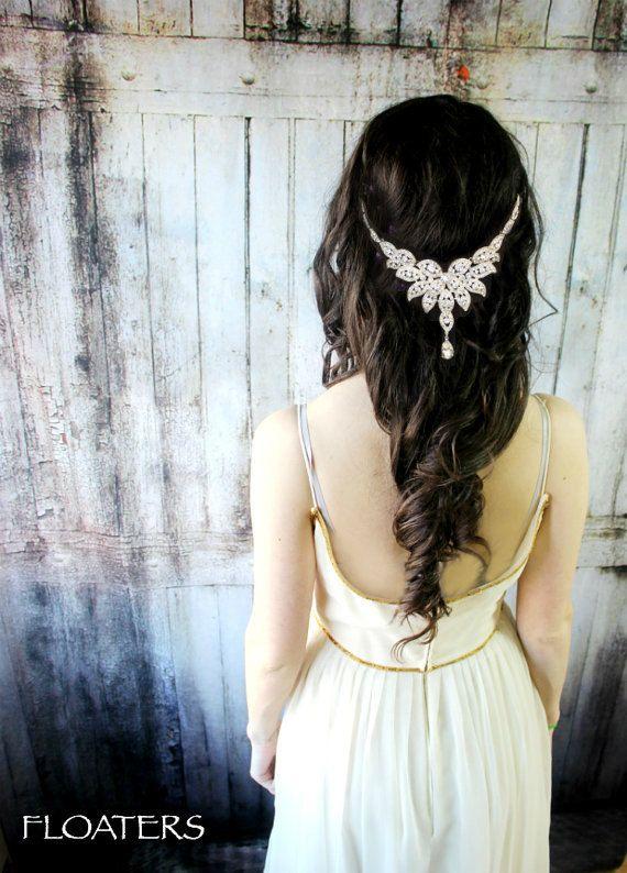 Bridal Headpiece, Wedding Headpiece, Bridal Hair Accessory Head Chain, Wedding H...