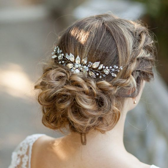 Bridal hair comb Wedding hair comb Leaves bridal hair comb Bridal headpiece Silv...