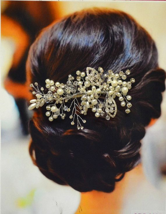 Florence Bridal Hair Comb, Wedding Hair Comb, Pearl and Crystal Hair Comb, Weddi...