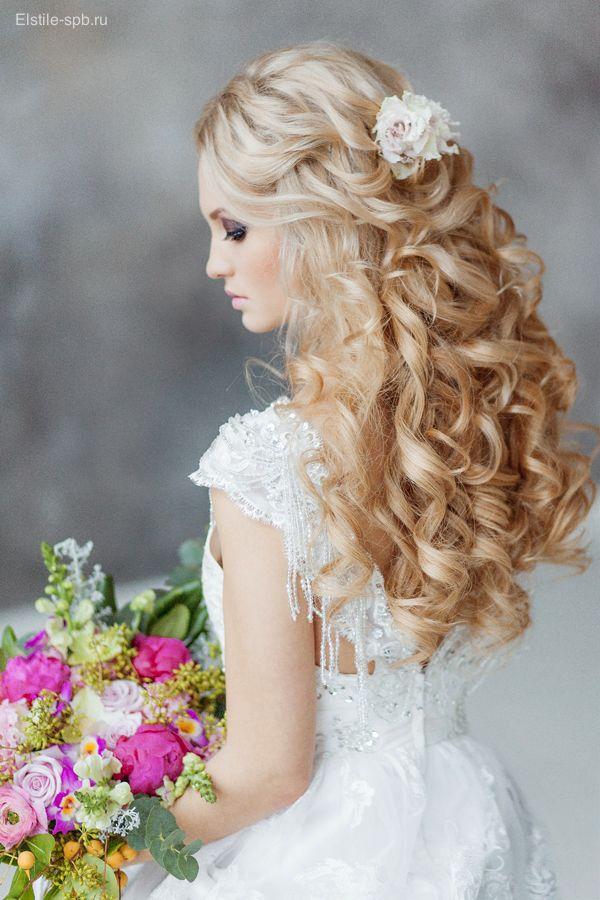Gallery: half up half down long wavy wedding hairstyle with flowers - Deer Pearl...