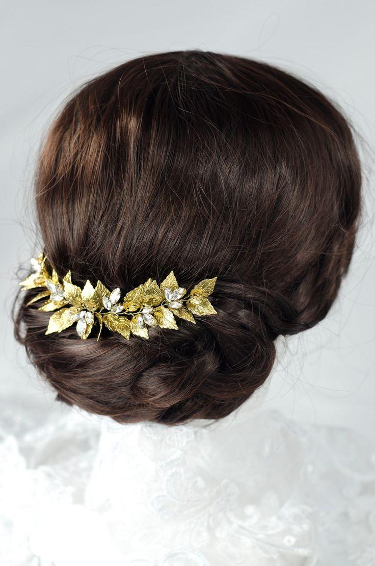 Grecian headpiece, gold leaf headpiece, laurel leaf comb by MarinaUA