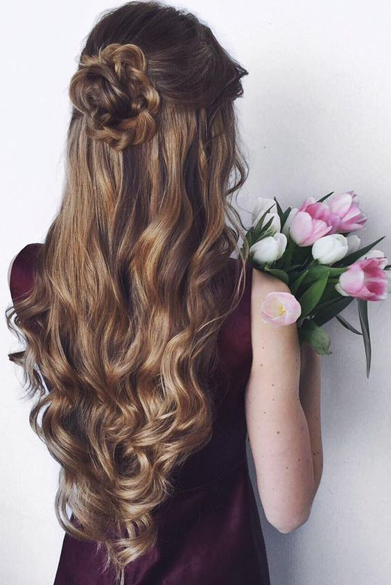 Long Half Up Down Wedding Hairstyle