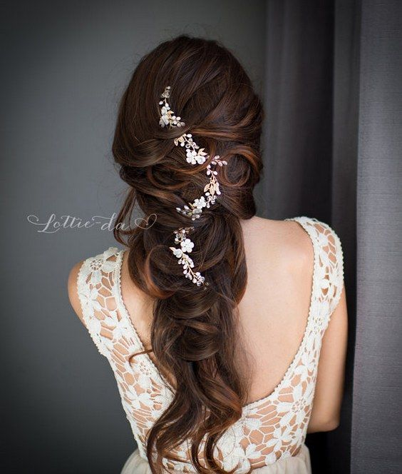 Long wedding hairstyle with Gold and Silver Wire Hair Vine / www.deerpearlflow.....