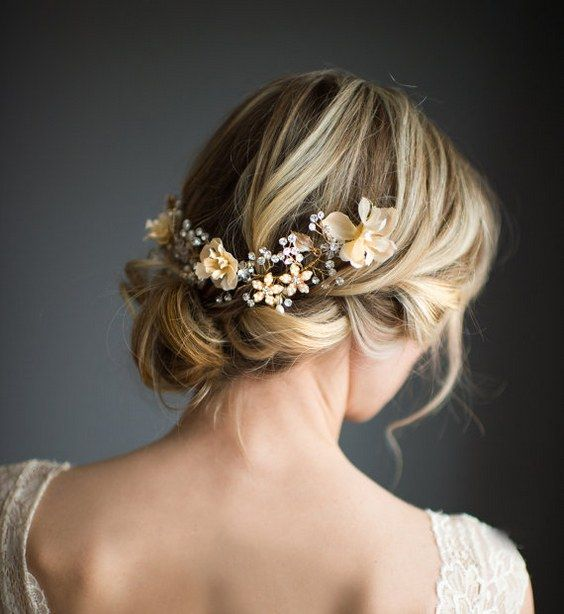 Wedding Updo with Boho Gold Halo Hair Crown / www.deerpearlflow...