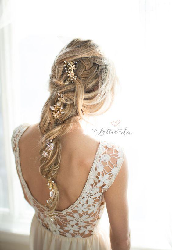long braided wedding hairstyle via LottieDaDesigns / www.deerpearlflow...