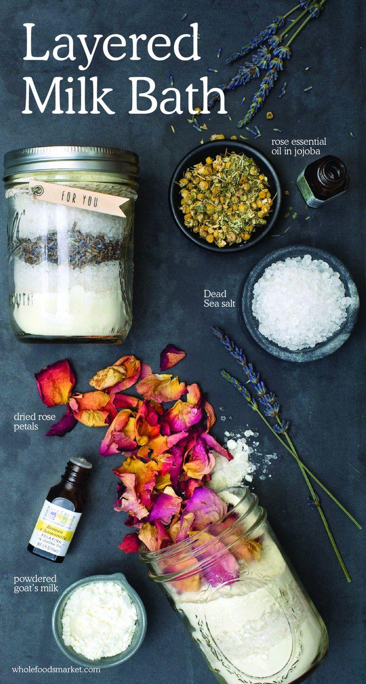 Layered Milk Bath | Natural Beauty DIY | Holistic Cosmetics | Rose Essential Oil...