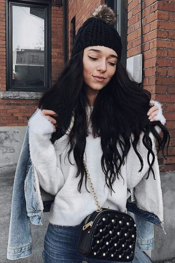 A beanie will beautifully complement your natural waves #hairstyles #haircuts