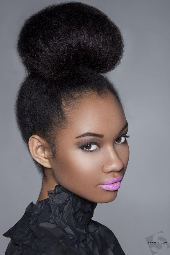 high bun hairstyles for black women | Now that's a high bun!