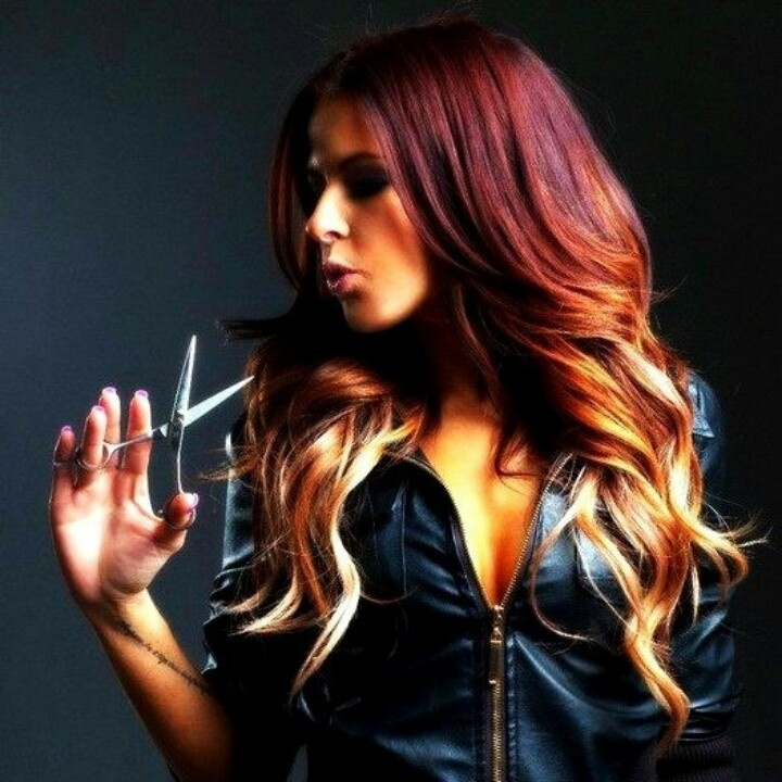 Red Hair Color Glowing Hair Ombre Plum Red Through Golden Brown