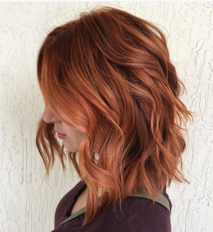 Red Hair Color Gorgeous Auburn Tousled Wavy Lob By Aveda Artist