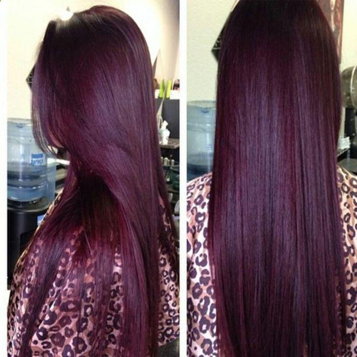 Hair Bundles - Péruvienne Vierge Cheveux Raides Rouge Vin Bourgogne 99J Droite ...