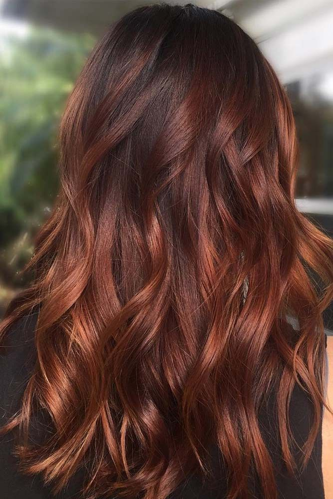 Red Hair Color Brown With Cherry Gold Highlights Beauty Haircut