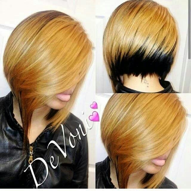 Fab Cut And ♥ The Color Contrast - www.blackhairinfo... #bob #color #shorthair