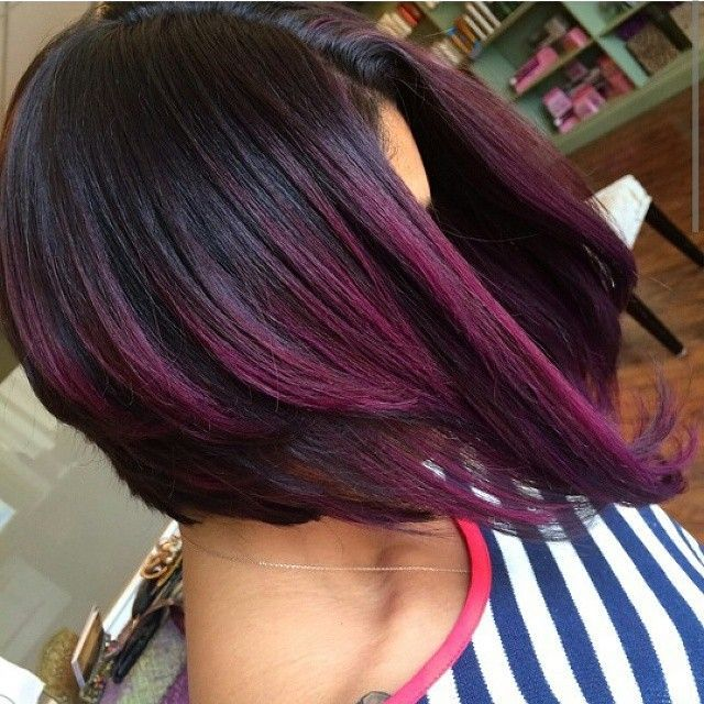 Purple Ombre Bob - community.blackha... #relaxedhairstyles