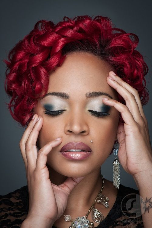 Red Hair ♥ - www.blackhairinfo... #relaxedhairstyles