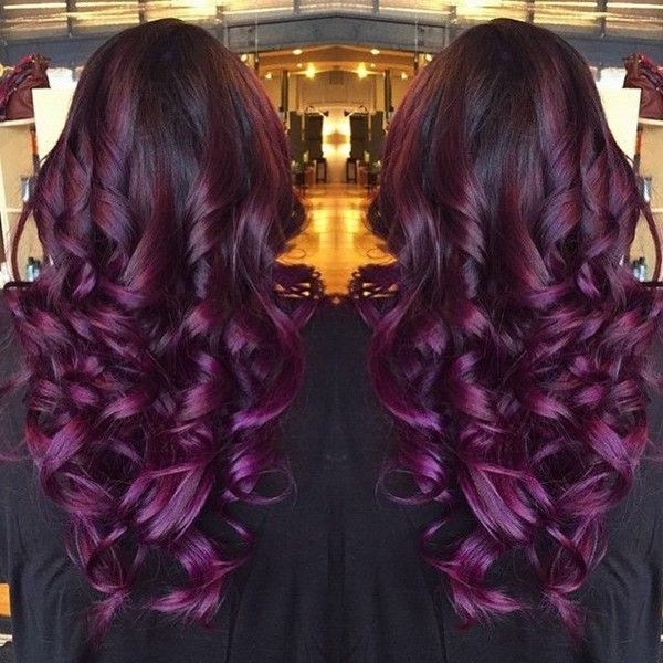 Trendy Hair Color Highlights Black Purple Ombre Hair Color