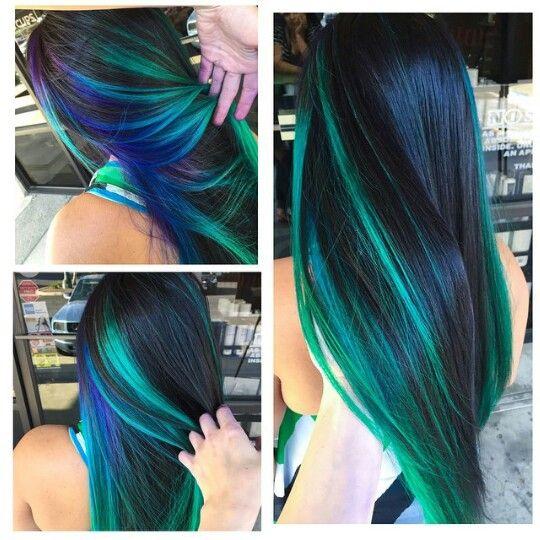 Blue green streak dyed hair color idea inspiration Brittnie Garcia