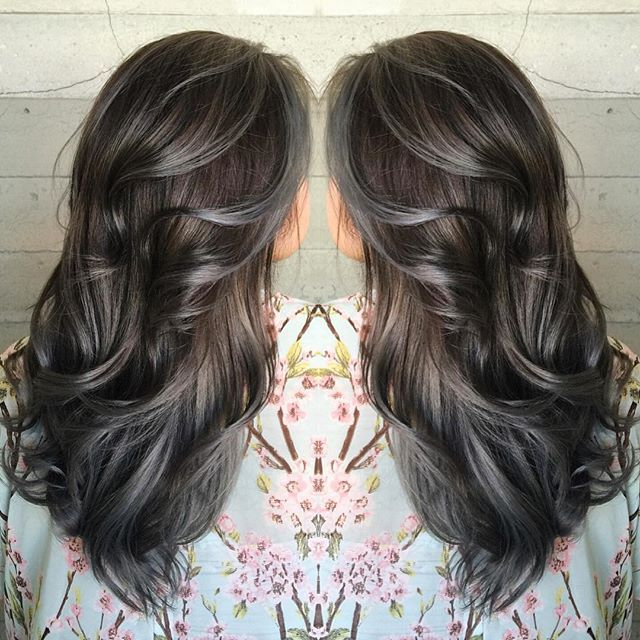 Brunette with pewter highlights by Janai Hartt gray highlights smoky highlights ...