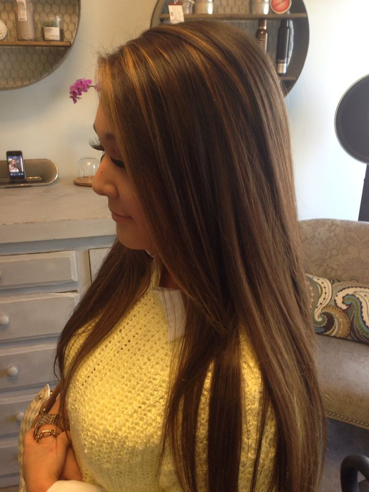 Caramel highlights on dark brown long hair. Used the davines flamboyage  techniq...