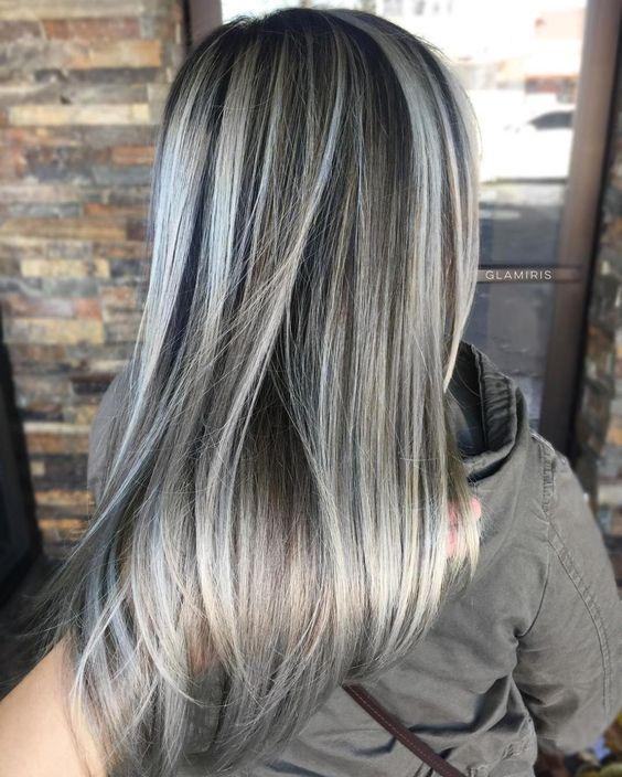 Trendy Hair Color Highlights Dark Brown Hair With Ash Blonde