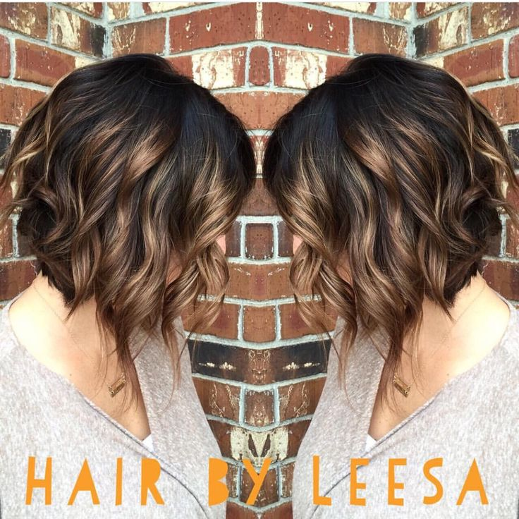 A Line Wavy Bob With Blonde Balayage Highlights