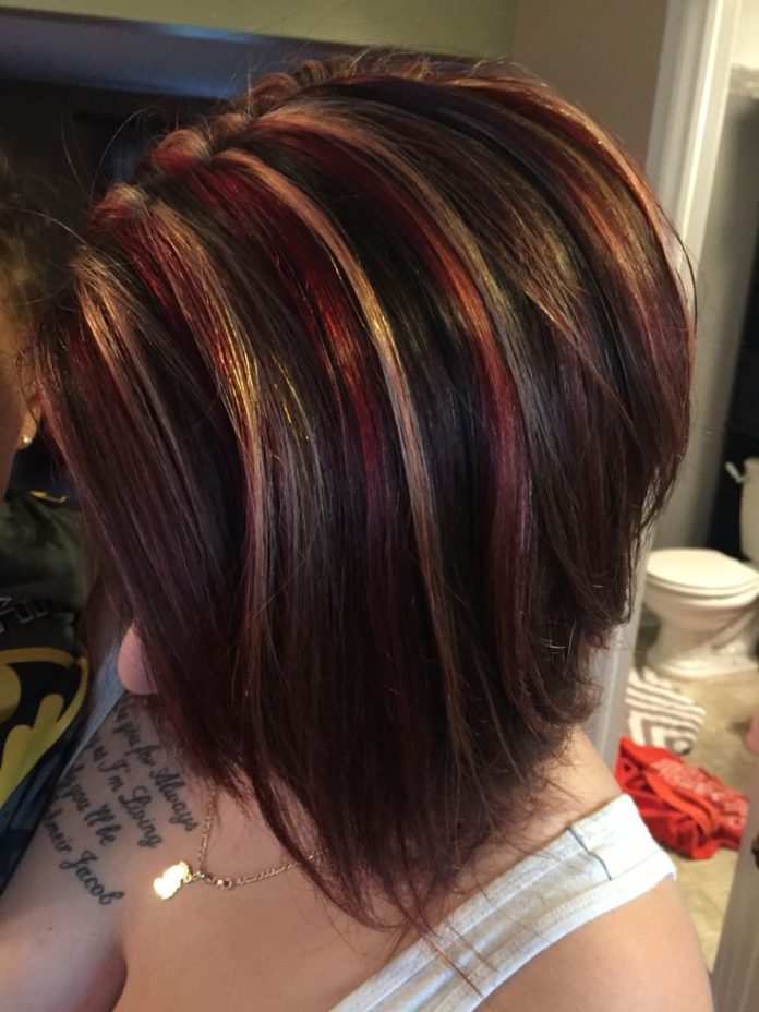 Trendy Hair Color Highlights Red Blonde Chunky Highlight On Dark