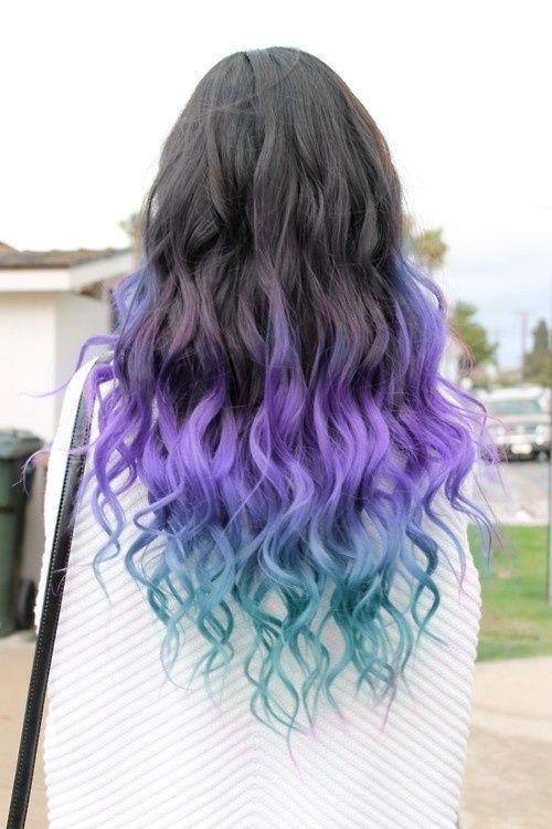 Trendy Hair Color Highlights Dip Dye Hair Blue On Black Hair