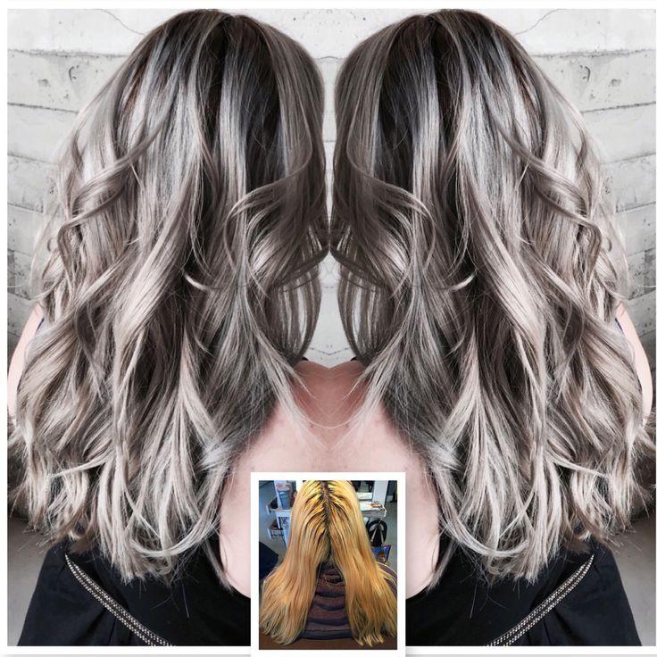 Trendy Hair Color Highlights Gray Hair Modern Salon Beauty